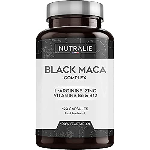 Black Maca Equivalent to 24,000mg per dose of 1200mg with L-Arginine, Zinc and Vitamins B6 B12 | 120 Maca Vegetarian Capsules Highly Concentrated 20:1 | Nutralie