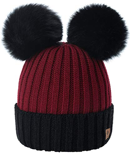 4sold Miki Colour Maroon Black Womens Girls Winter Hat Wool Knitted Beanie with Double Pom Pom Cap Ski Snowboard Bobble