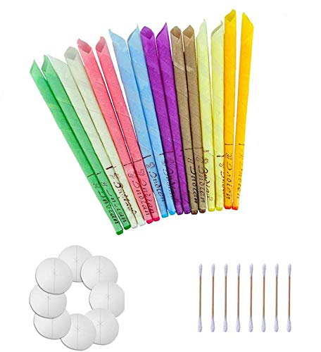 100% Natural Ear Candles Beeswax Candling Cones, Fragrance Organic Plant Material Hollow Cone Candles for 16 Pcs(8 Colors) with 8 Protective Disks