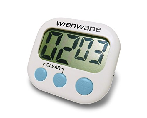 Wrenwane Digital Kitchen Timer (Upgraded Version) Big Digits, Loud Alarm, Magnetic Backing, Stand, USA Best Seller for 7+ Years with 10000+ Reviews! White