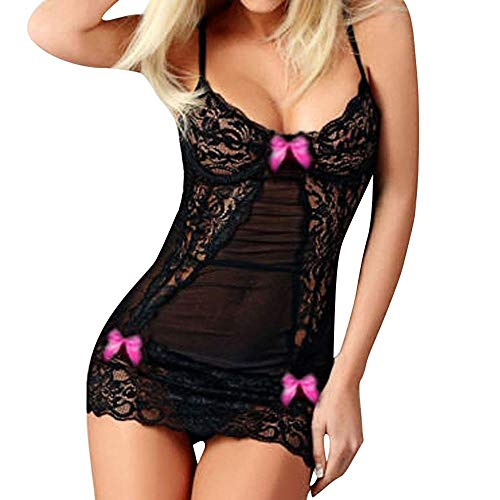LYworld Sexy Lingerie Lace Mesh Nightwear Hollow Out See Through Underwear Transparent Nightdress with Bow-Knot Back Bodysuit Babydoll (M, Black ( Hot Pink))