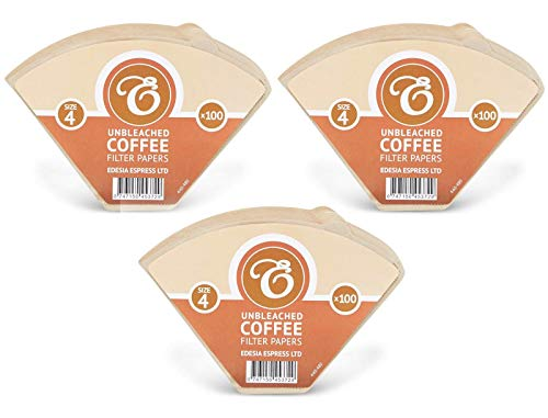 300 Size 4 Coffee Filter Paper Cones, Unbleached by EDESIA ESPRESS