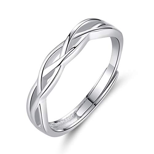 GULICX Solid 925 Sterling Silver Ring for Women Men, Celtic Knot Silver Adjustable Thumb Rings, Eternity Engagement Promise Finger Ring Infinity Anniversary Wedding Resizable Ring Jewellery Gift