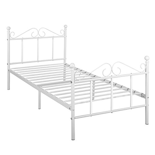 DORAFAIR Solid Single Metal Bed Frame 3ft with Strong Metal Slats for Adults Children Kids, Fits for 90 * 190 CM Mattress, White