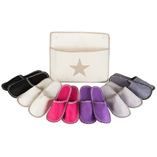 LEVIVO Guest House Slippers Set, with 6 Pairs of High-quality Felt Slippers in 3 Different Sizes and Elegant Storage Bag