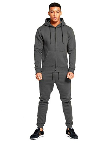 mymixtrendz Mens Designer Tracksuit Skinny Fit Stretch Body Fit Zipped Top and Joggers Bottoms (XL, Steel Grey)
