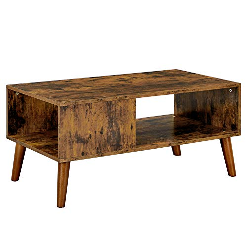 VASAGLE Retro Coffee Table, Cocktail Table, Mid-Century Modern Accent Table with Storage Shelf for Living Room, Reception, Easy Assembly, Brown LCT09BX