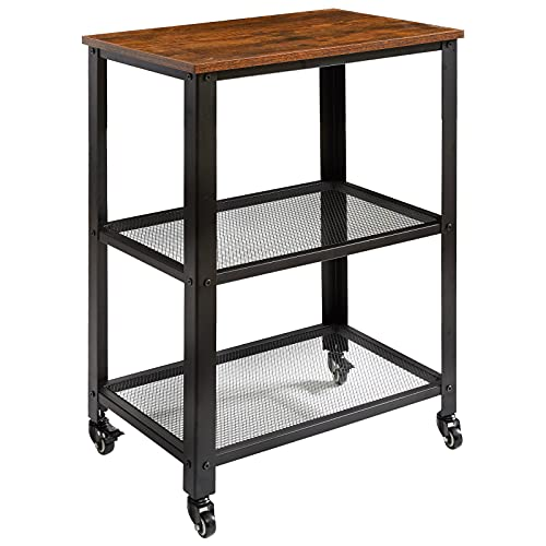 IBUYKE Serving Cart Trolley 60x40x81cm, Industrial Kitchen 3 Levels Shelves, Rolling Utility Cart with 4 Wheels, Heavy Duty Storage Organiser for Kitchen living room TMJ011H