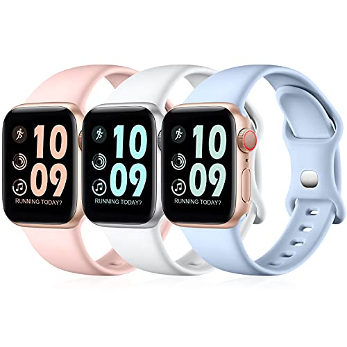 Maledan Pack 3 Straps Compatible with Apple Watch Strap 44mm 42mm 40mm 38mm 41mm 45mm, Soft Silicone Replacement Sport Band for iWatch SE/Series 7 6 5 4 3 2 1, 38mm/40mm/41mm-S/M, Lilac/White/Pink