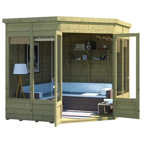 BillyOh Wooden Summerhouse Corner Tongue & Groove Wood Outdoor Shed Garden Summer House Building Picton Floor and Roof Included 7x7 or 8x8 Pressure Treated Available (7x7 Pressure Treated)