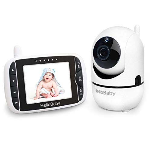 HelloBaby Baby Monitor with Remote Pan-Tilt-Zoom Camera 3.2'' LCD Screen Upgraded 2020, Infrared Night Vision, Temperature Display, Lullaby, Two Way Audio, with VOX Mode (3.2 Inch)