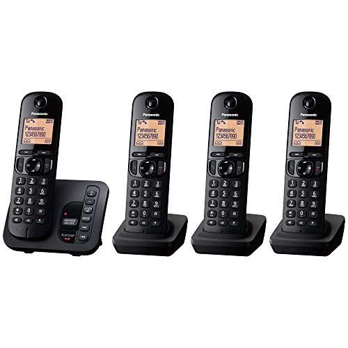 Panasonic KX-TGC224EB DECT Cordless Phone with Answering Machine, 1.6 inch Easy-to-Read Backlit Display, Nuisance Call Blocker, Hands-Free Speakerphone, ECO Mode - Black, Quad Handset Pack