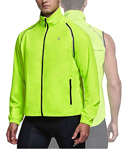 BALEAF Men's Cycling Running Jacket Removable Sleeves Reflective Sleeveless Windbreaker Coat Windproof Visibility Fluorescent Yellow Size M