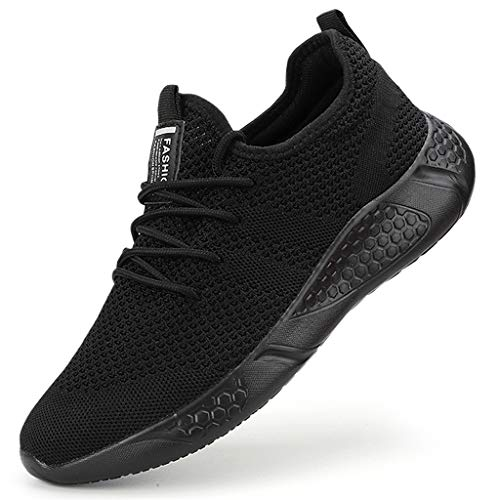 Men's Trainers Fashion Sneakers Walking Casual Running Shoes Gym Sport Tennis Shoes Black,9 UK(Label Size: 43)