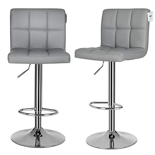 SONGMICS Bar Stools Set of 2, Height Adjustable Bar Chairs in Synthetic Leather, 360° Swivel Kitchen Stool with Backrest and Footrest, Chrome-Plated Steel, Grey LJB64GUK