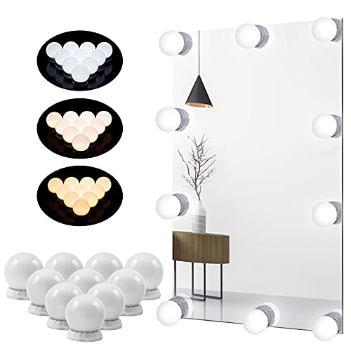 LED Vanity Mirror Lights, Hollywood Mirror Lights for Dressing Table, New USB Makeup Lights with Touch Sensor Dimmer Switch, 10-Level Adjustable Brightness and 3 Colour Change, 10 Bulbs