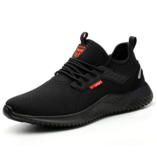 Ulogu Safety Shoes for Men Steel Toe Trainers Lightweight Work Shoes Women Breathable Industrial Sneakers, 9 UK, Black Black01