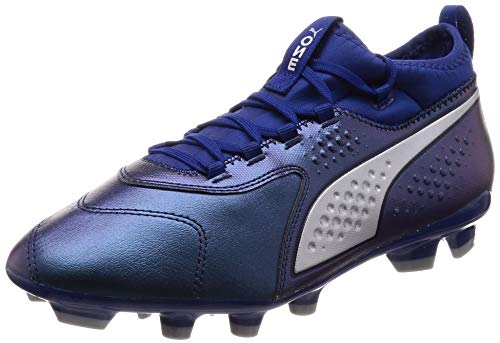 PUMA One 3 Hard Ground Men's Leather Football Boots-Blue-6.5