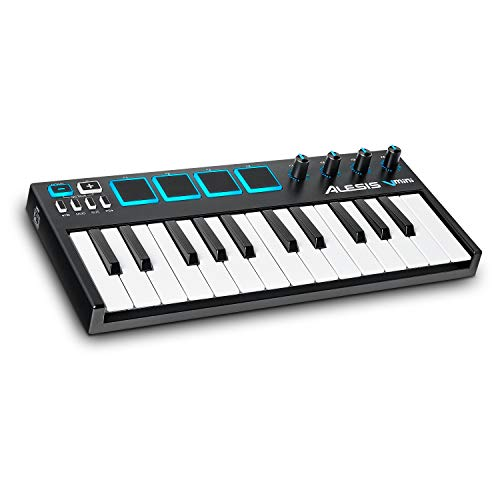 Alesis V-Mini - Portable 25-Key USB-MIDI Keyboard Controller with 4 Backlit Sensitive Pads, 4 Assignable Encoders and Professional Software Suite with ProTools   First Included