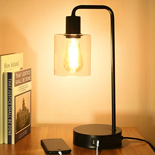 Touch Control Table Lamp with 2 USB Ports, 3 Way Dimmable Vintage Nightstand Desk Lamp, Clear Glass Shade Bedside Lamp for Bedroom, Living Room, Office, 6W 2700K LED Edison Bulb Included