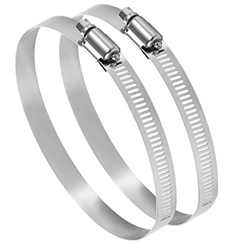 Ariati UK 150mm Pack of 2 Adjustable 140-160mm Stainless Steel Pipe Clamp Secure Hose Clip Inline Duct Extractor Fan Cooker Hood