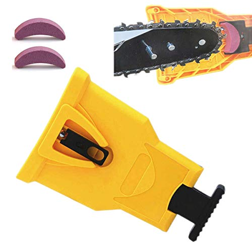 MEW Chainsaw Sharpener with 2 Extra Whetstone, Two Holes Chainsaw Teeth Sharpener Fast Sharping Stone Grinder Tools,Universal Woodworking Kit