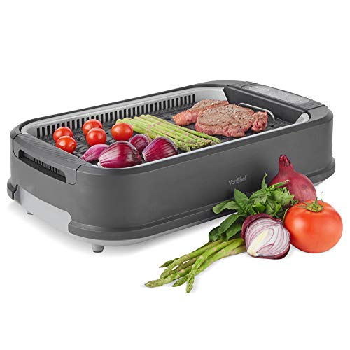 VonShef Smokeless Grill BBQ Electric 1500W - Portable, Healthy Indoor & Outdoor Barbecue, Smoke Extraction Fan, Adjustable Temperature Control, Easy Clean Non Stick Removable Ceramic Plate & Drip Tray