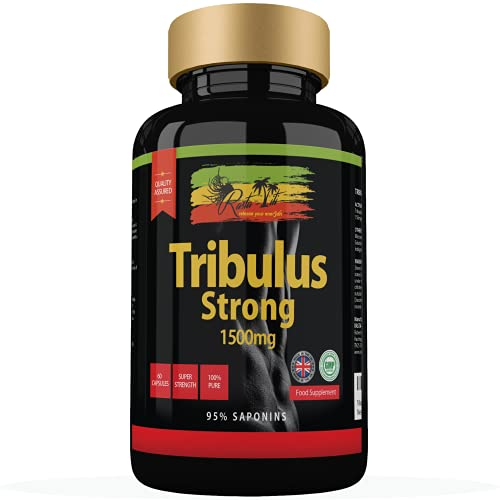 Tribulus Terrestris Strong capsules | Maximum SAFE 95% Saponins with High Potency 1500 mg per tablet | Muscle Growth, Mass, Strength & Stamina Supplements for Men | Made in the UK & GMP Certified