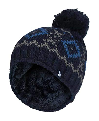 HEAT HOLDERS - Mens Chunky Knit Fleece Lined Thermal Winter Warm Beanie Bobble Hat with Pom Pom (One Size, Navy/Blue)