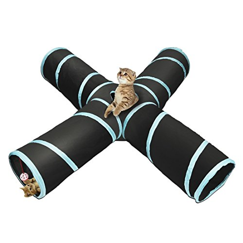 Cat Tunnel Pet Toy Tunnel 4 Way Collapsible Cat Tube Crinkle Pop Up Tunnel Set Pet Toys
