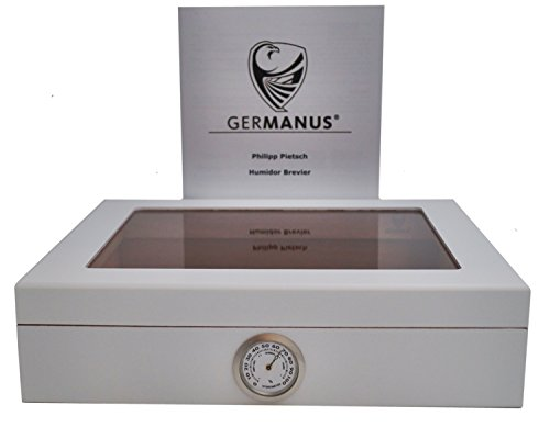 GERMANUS Cigar Humidor for approx. 30 Cigars, White, with Hygrometer and Humidifier Manual