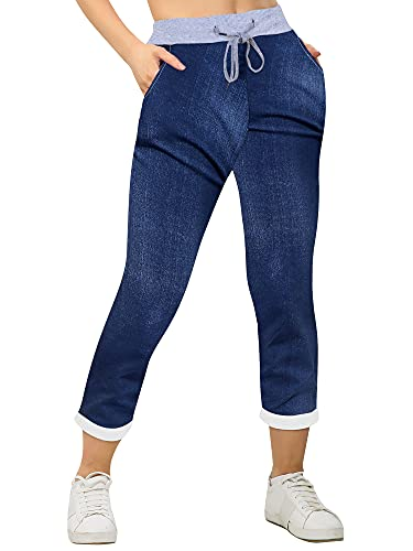 Love My Fashions® Womens Multi Floral Check Tartan Print Italian Ribbed Waistband Casual Summer Trousers Jogging Exercise Gym Running Cotton Outwear