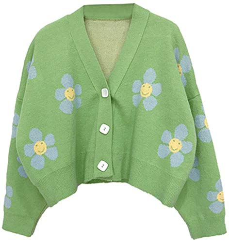 Women Knitted Sweaters Cardigans Floral V Neck Long Sleeve Girls Sweet Vintage Casual Coat Y2k Jumper (Color : Green, Size : F)