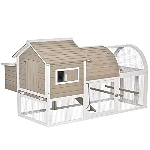 PawHut Wooden Chicken Coop Outdoor Hen House Poultry Cage with Removable Tray Nesting Box Backyard, 167.5 x 109 x 100cm, Grey
