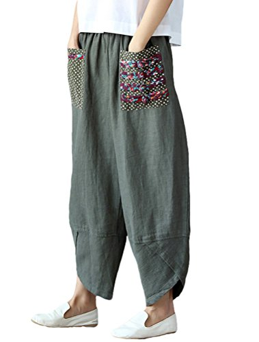 FTCayanz Women's Linen Cropped Trousers Splice Harem Pants Baggy Palazzo Wide Leg Pants Army Green XXL