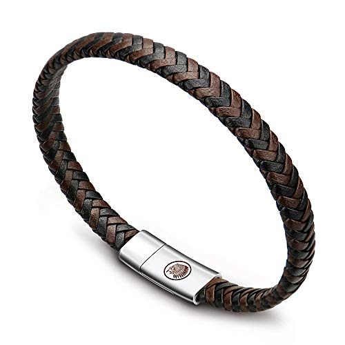 Mens Leather Bracelet – Classic Handmade Braided Black & Brown Cuff Bracelet with Engraved Magnetic Clasp FREE Jewelry GIFT Boxed (XBTG26)