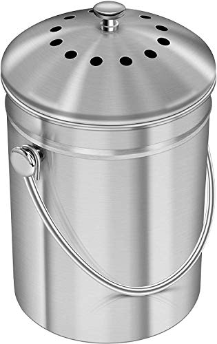 KICHLY Stainless Steel Compost Bin, Caddy bin for Kitchen Countertop - Includes 1 Spare Charcoal Filter - 5 Litre Compost Caddy bin with Lid for Odor Filtration