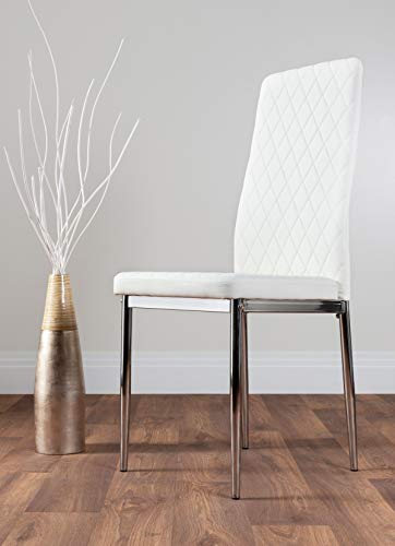 Milan 4/6 Modern Stylish Chrome Hatched Diamond Faux Leather Dining Chairs Seats Set (6x White Milan Chairs)