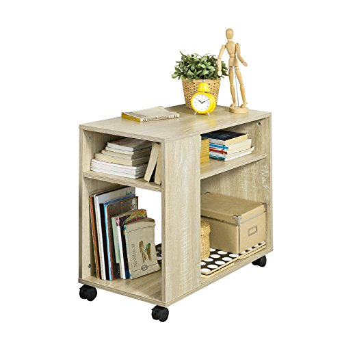 SoBuy® FBT34-N, Side Table End Table Coffee Table Lamp Table with Storage Shelves, 2 Tiers Bookcase on Wheels