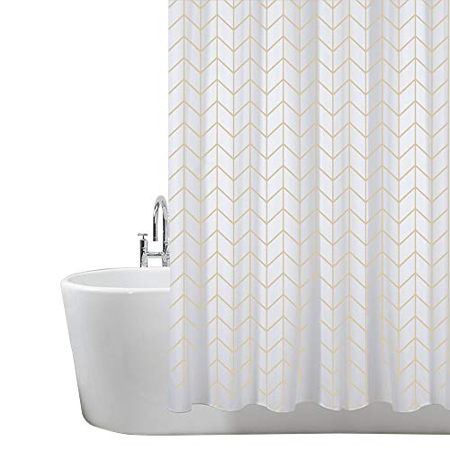 ANSIO Shower Curtain, Mould and Mildew Resistant 180 x 180 cm 100% Polyester - Herringbone pattern