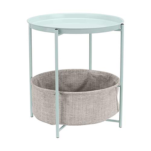 Amazon Basics Round Storage End Table - Mint Green with Heather Grey Fabric