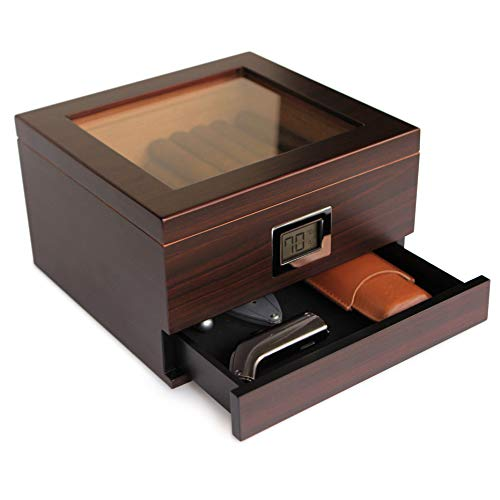 Glass Top Handcrafted Cedar Humidor with Front Digital Hygrometer, Humidifier Solution, and Accessory Drawer - Holds (25-50 Cigars) by Case Elegance (Glass Top) (Glass Top)