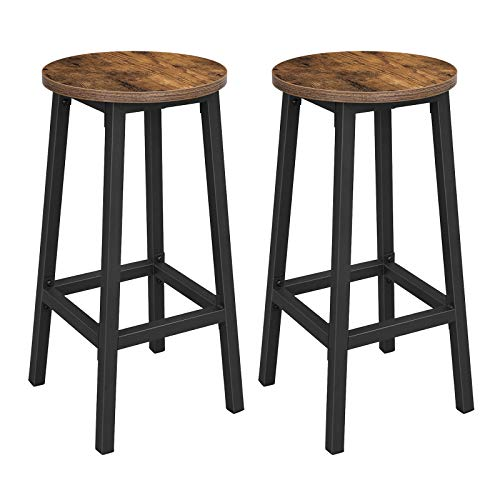 VASAGLE Set of 2 Bar Stools, Tall Kitchen Stools, Sturdy Steel Frame, 65 cm Tall, Easy Assembly, Industrial Style, Rustic Brown and Black LBC32X