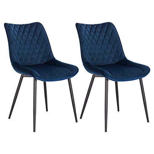 WOLTU Dining Chairs Set of 2 pcs Kitchen Counter Chairs Lounge Leisure Living Room Corner Chairs Blue Velvet Reception Chairs with Backrest and Padded Seat
