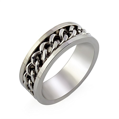 HIJONES Jewellery Mens European Style Rotatable Chain Stainless Steel Ring Size S (Silver)