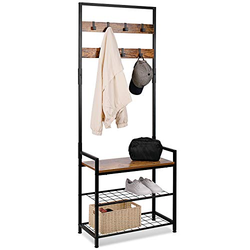 Leader Accessories 172CM Modern Industrial Coat Tree,Coat Rack Shoe Bench with Removable 7 Hooks, Hall Tree Entryway Storage Shelf, Metal Frame 64x30x172cm(L*W*H)