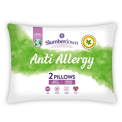 Slumberdown Anti Allergy White Pillows 2 Pack Soft Support Bed Pillows Designed for Front Sleepers Bed Pillows