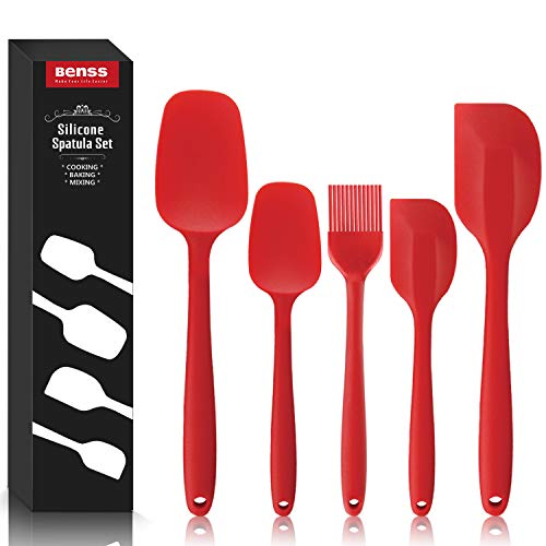 Silicone Spatula Set Silicone Kitchen Utensils Set,Heat Resistant Non Stick Coating with Steel core, for Cooking Baking Cake Decorating, Rubber Spatula Turner Spoonula, 5, Red, by Benss