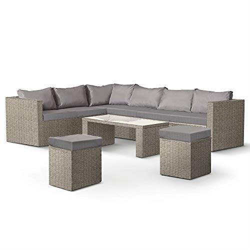 VonHaus Rattan Garden Furniture Set – 8 Seater L-Shaped Outdoor Corner Sofa with Glass Top Table and Stools – for Patio, Decking, Balcony, Conservatory - Grey