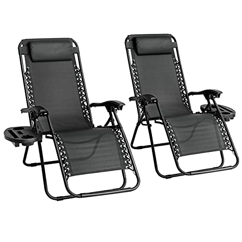 Straame Garden   Zero Gravity Chair   Set of 2   Heavy Duty Textoline   Outdoor & Garden Sunloungers   Reclining & Folding Chair with Cup Holder and Headrest Pillow